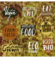 set with healthy eco and organic food labels on vector image vector image