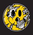 smiley face emoji halloween skull vector image