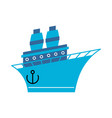 steamboat cartoon style ship blue boat vector image vector image