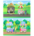 street food carts with vendors in green park set vector image vector image