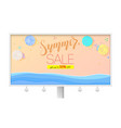 summer sale billboard with seashore sandy beach vector image vector image