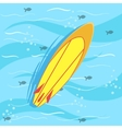 Surfing Board With Blue Sea Water On Background vector image vector image