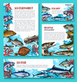 template for fresh fish seafood market vector image vector image