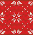 tile red and white knitting pattern or winter vector image