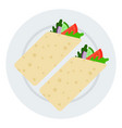 two rolls vegetarian shawarma icon flat vector image vector image