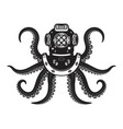 vintage diver helmet with octopus tentacles vector image vector image