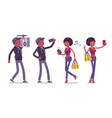 young black man and woman with gadgets and boombox vector image vector image