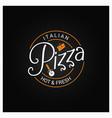 pizza logo badge design background vector image