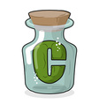 C in scientific laboratory bottle Letter in a vector image