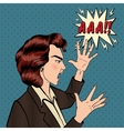 Angry Shouting Woman Furious Girl Pop Art vector image