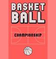 basketball championship poster vector image