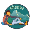 Bearded traveler with backpack in mountains vector image