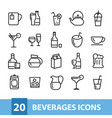 beverages icons collection vector image