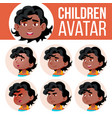 black afro american boy avatar set kid vector image