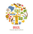brazil sightseeing landmarks and famous vector image