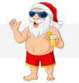 cartoon santa claus with a cocktail waving vector image