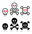 Cartoon skull with bones and hearts icon se vector image vector image