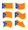 catalonia flag set estelada blava banner ribbon vector image vector image