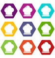 chef hat icons set 9 vector image