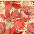 coral red flowers seamless pattern vector image vector image