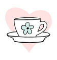 cups mug heart love flower hand drawn style vector image