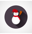 cute snowman character in red scarf icon vector image vector image