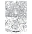 detailed poster city map hamburg vector image vector image