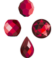 faceted ruby red beads vector image vector image