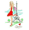 Fashion girl in Paris vector image