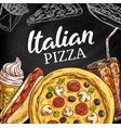 fast food italian pizza menu sketch vector image vector image