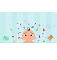 Flat little happy boy with toys vector image vector image
