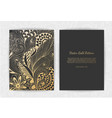gold vintage greeting card on a black background vector image vector image