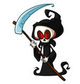 grim reaper cartoon character with scythe isolated vector image vector image