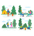 hiking and camping campfire and tent playing vector image