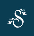 initial letter s with birds shape logo vector image