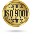 iso 9001 certified gold label vector image vector image