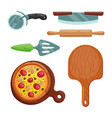 italian cook pizza icons vector image vector image