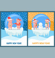 new year piglets couples gift box and snowman vector image vector image