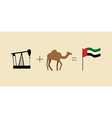 Oil rig and camel Symbols of United Arab Emirates vector image vector image