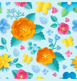 paper cut flower pattern spring orange poppy vector image