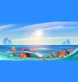pollution ocean plastic trash garbage in water vector image vector image