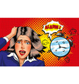 pop art panic girl with alarm clock vector image vector image