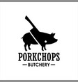 pork chop and cut logo vector image vector image