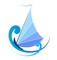 sailboat on blue waves vector image vector image