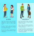 school and university set of posters with text vector image vector image