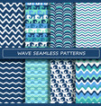 set blue and white sea wave seamless patterns vector image vector image