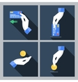 Set of four icons with hands holding the vector image vector image