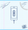 smartphone battery charge line sketch icon vector image vector image