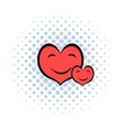 smiling heart faces icon comics style vector image vector image