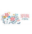 spring season card hand drawn cute flowers vector image